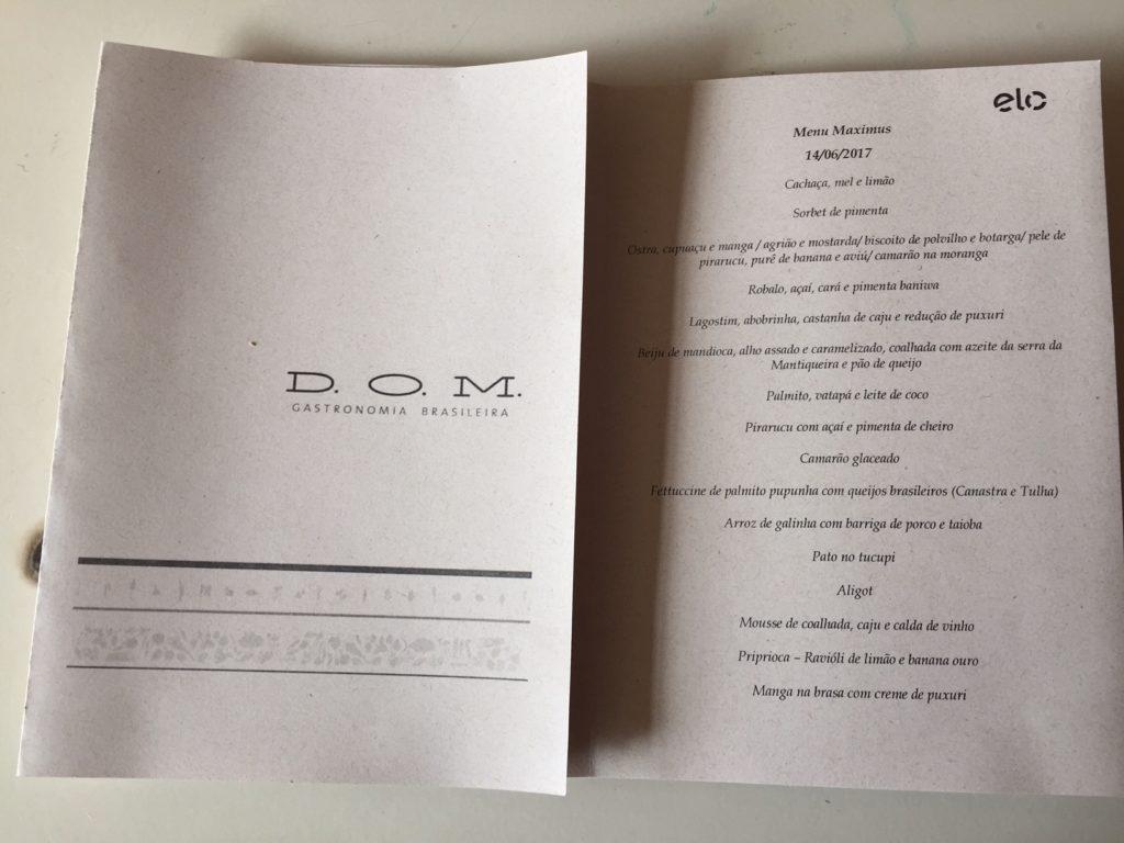 Menu do DOM Restaurante
